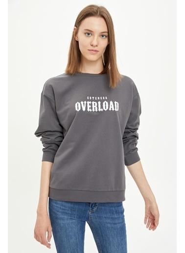DeFacto Yazı Baskılı Sweatshirt Antrasit